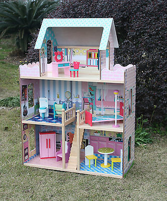 Girls Wooden Doll House Kids Large 119 cm high Dollhouse Girls Doll House