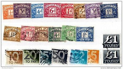 GB Postage Due Collection of 22 Mint/FU X3015