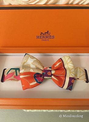 New Authentic Hermes Imperiales Collection Multicolor 100% Silk Bow Tie