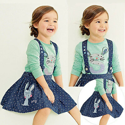 Kids Baby Girls Long Sleeve Bunny T Shirt Tops +Jeans Skirt 2Pcs Set Outfits