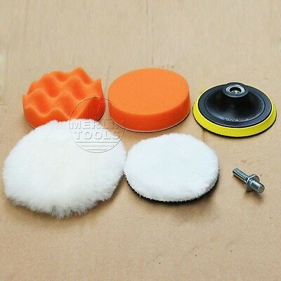 "125mm/5"" Car Polisher Buffing Pad Kit Pads Backing Plate 8mm Drill Shank Adaptor"