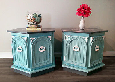 Turquoise Hexagon End Tables Pair