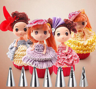 New 7x Stainless Steel Flower Icing Piping Nozzles Tip Cake Cream Skirt For Doll