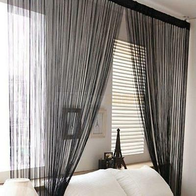 Solid String Curtains Patio Net Fringe for Door Fly Screen Windows Room Divider