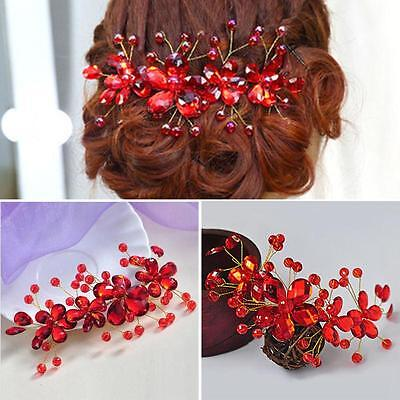 Crystal Rhinestone Flower Wedding Party Bridal Hair Comb Hairpin Clip Jewelry HU
