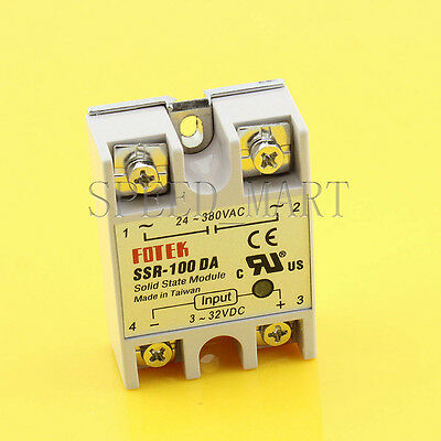 Solid State Relay DC-AC SSR-100DA 100A 3-32VDC 24-380V AC Module Fast Switching