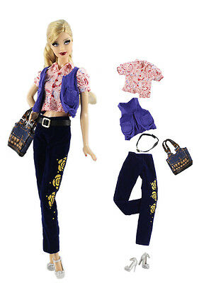 6in1 Set Casual Clothes/Outfit Vest+top+pants+belt+bag+shoes For Barbie Doll L1U