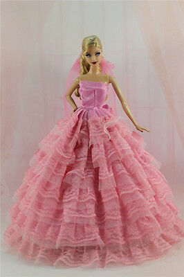 Gorgeous Princess Party Dress/Clothes Wedding Gown+Veil For Barbie Doll N03