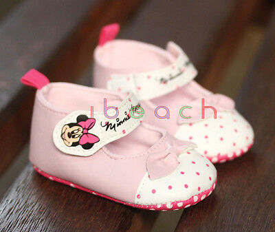 Infant Baby Girl Minnie Mouse White Mary Jane Shoes Size Newborn to 18 Months