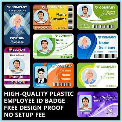 Custom, Pvc Plastic, Employee Id Card Badge With Your Photo & Info, Cc Size