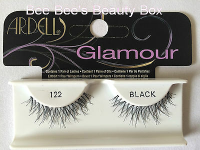 Ardell Glamour Lashes 122 Black x 1 Pack, Genuine, False Strip Eyelashes