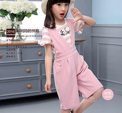 Female children's clothing Casual Wide-legged pants   short sleeve Two-piece