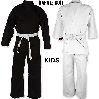 Kids Karate Suit Martial Arts Uniform Juinor Free Belt All Sizes Black/White