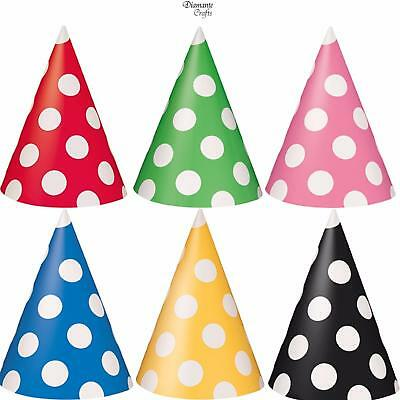 Party Hats - Cone Polka Dot Spot - Pack 8 - Party Birthday Celebration Deco