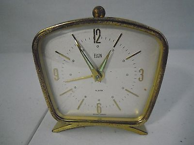 Vintage ELGIN Brass Wind Up Alarm Clock Working Condition West Germany