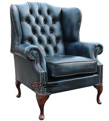 Chesterfield Mallory Queen Anne High Back Fireside Chair Antique Blue Leather