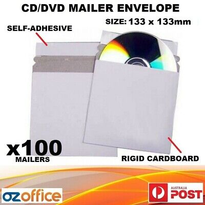 100 x CD DVD Envelope Cardboard Mailer Sleeve Semi Rigid with Adhesive Self Seal