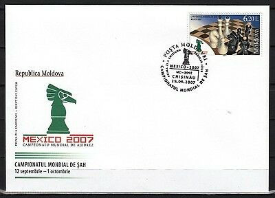 """"""" Moldova, Scott cat. 574. Mexico World Chess Chess issue on a First Day Cover."""