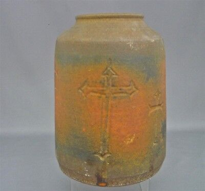 Signed CRAWFORD Vancouver B.C. Potter Vase Dated 1968 Art Pottery Crucifix Motif