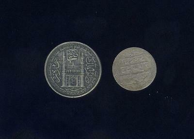 India, Mewar 1928 1/16 Rupee + Hyderabad 2 Annas 1943, Two Coins, Free USA Ship.