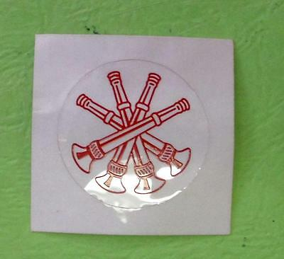 Four Crossed Bugle Fire Dept Round Decal Sticker Reflective