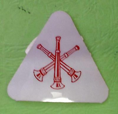 Three  Cross  Bugle Fire Dept Triangle Decal Sticker Reflective