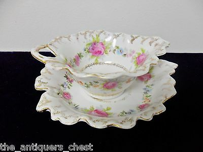 Imperial Austria gravy boat with underplate, flowers and garlands[84b]