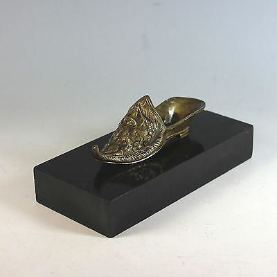 Antique French Paperweight Bronze & Marble Lady Slipper Presse Papier