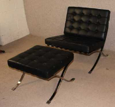 Black Leather Contemporary Stylish Gonzales Chair and Matching Stool.