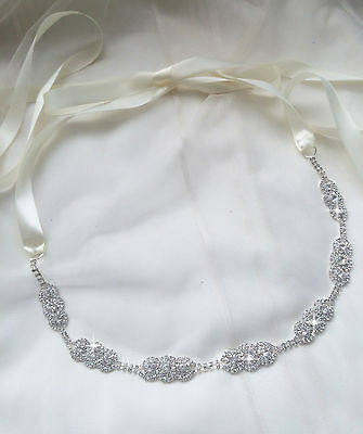 ALEXA Bridal Sash, Art deco, Rhinestone, Wedding Dress Sash, Bridal Belt