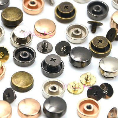 Round Flat Head Metal Studs Rivets Screwback Spots for Leathercraft Bags Shoes