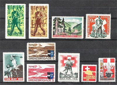 WWII Switzerland Swiss soldier Military Stamps (Divers) - MNH OG **