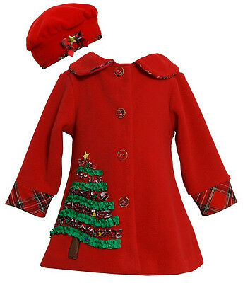 Bonnie Jean Christmas Santa Tree Red  Baby Infant Girls coat  12 18 24 Months