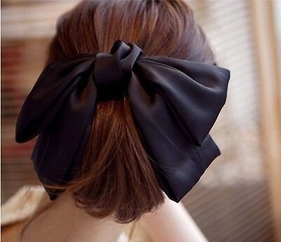 Fashion Girl Satin Ribbon Bow Hair Clip Barrette Ponytail Holder Hair Accessory
