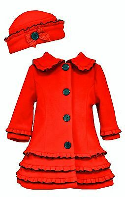 Bonnie Jean Baby Girls Red Holiday Christmas Coat & Hat Buttons 0-24 Months