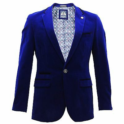 Mens Marc Darcy Desinger Royal Blue Velvet Smart Formal Blazer Dinner Jacket