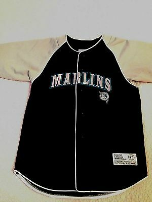 Florida Marlins Throwback True Fan Mlb Baseball Button Front Jersey Sewn Youth  M c25be1e1e