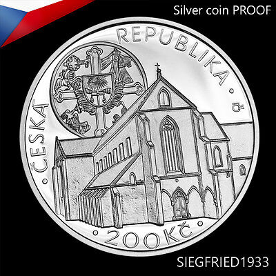 Czech Silver Coin PROOF (2013) - Foundation of Gold Crown monastery - 200 CZK