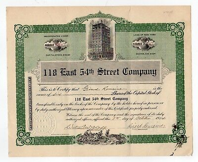 118 East 54th Street Company stock certificate