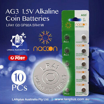 10 X AG3 1.5v LR41 AG-3 L736 392 SR41 192  35mAh Alkaline Button Coins Battery