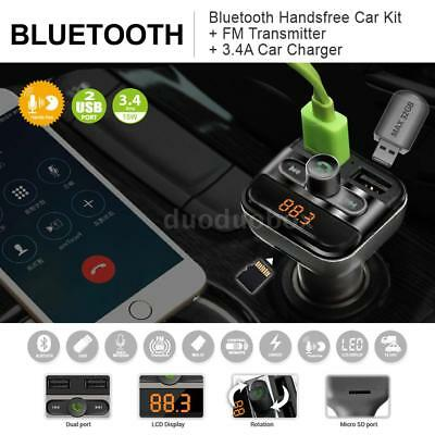 Car Bluetooth Handsfree MP3 Player FM Transmitter SD Slot Dual USB Charger K4T3