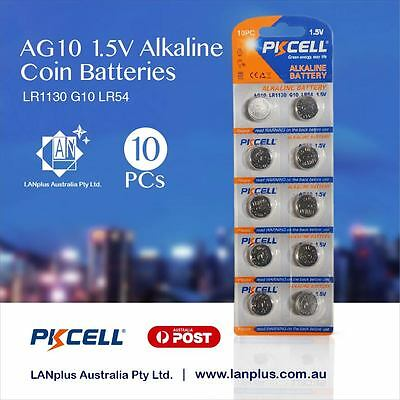 10X AG10 1.5v LR1130 G10 LR54 189 GP89A Alkaline Button Coin Battery Melbourne