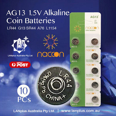 10X AG13 1.5v LR44 G13 LR44 A76 GP76A 357 Alkaline Button Coin Battery Melbourne