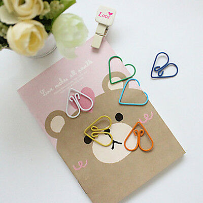 10Pcs Colorful Office Supplies Stationary Wrapped Heart Paper Clips Random Color
