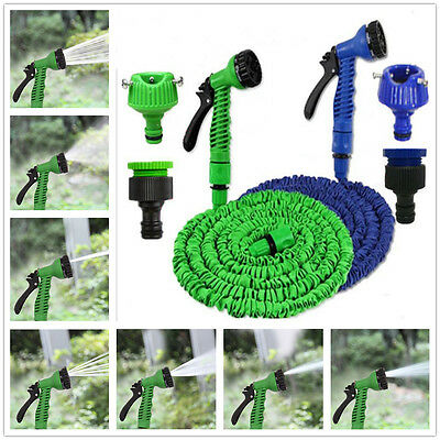 200/150/100FT Expanding Flexible Garden Lawn Car Pocket Water Hose Spray Nozzle