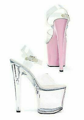 68380b5df13 Ellie Shoes 821-BROOK 8 Inch Heel Sandal Women S Size Shoe With Clear Straps
