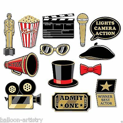 Hollywood 'At The Movies' Glitter Photo Booth Props w/Sticks Awards Oscars Party