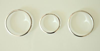 VW  VOLKSWAGEN CADDY 2003+ ALUMINIUM CHROME HEATER DIAL CONTROL RINGS x 3