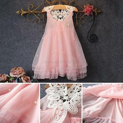 Toddler Baby Girl Kid Flower Tutu Dress Wedding Party Princess Puffy Dress 2-7Y
