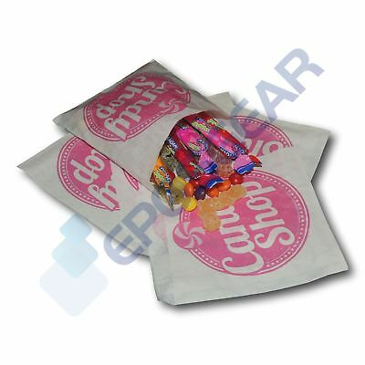 """100 Pink 5"""" x 5"""" Candy Shop Paper Bags Sweet Favour Gift Party Cart Wedding"""